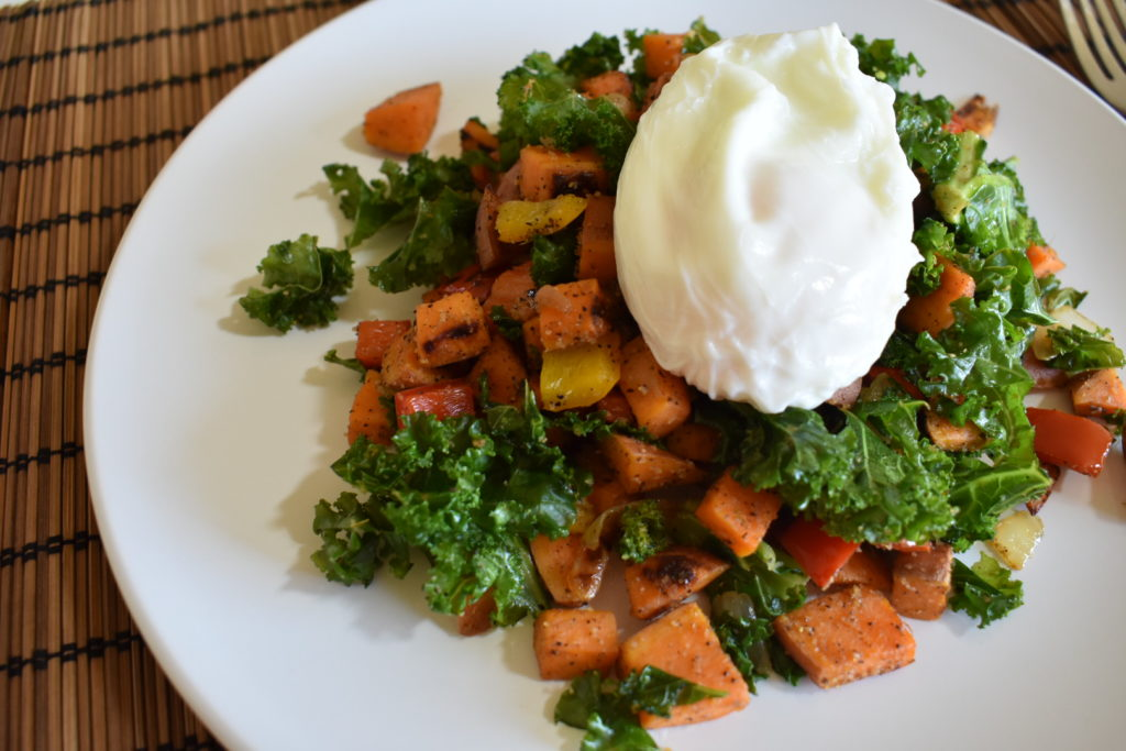 sweet potato & kale hash topped with poached egg